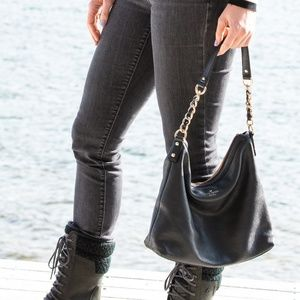 Kate Spade Black Leather Hobo w/ Gold Chain Strap